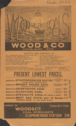 Advert for Wood & Co, coal merchant 6026